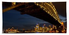 Sydney Harbour Bridge Beach Sheet by Miroslava Jurcik