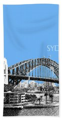 Sydney Skyline 2 Harbor Bridge - Light Blue Beach Towel