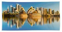 Sydney Skyline With Reflection Beach Towel by Algirdas Lukas