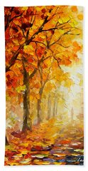 Symbols Of Autumn - Palette Knife Oil Painting On Canvas By Leonid Afremov Beach Towel