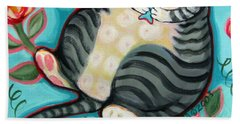 Tabby Cat On A Cushion Beach Towel