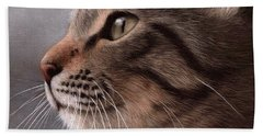 Tabby Cat Painting Beach Towel