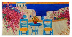 Table For Two In Santorini Greece Beach Towel