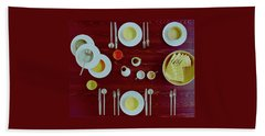 Tableware Set On A Wooden Table Beach Towel