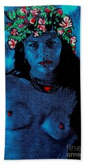 Beach Towel featuring the painting Tahitan Night by Roberto Prusso