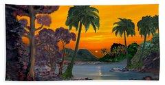 Tahitian Sunset Beach Towel by Glenn Holbrook