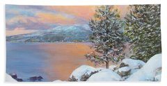 Tahoe Winter Colors Beach Sheet by Donna Tucker