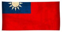 Taiwan Flag Vintage Distressed Finish Beach Towel