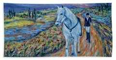 Beach Towel featuring the painting Take Me Home My Friend by Xueling Zou
