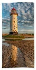 Talacre Lighthouse Sunset Beach Towel
