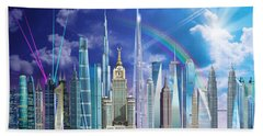 Tall Buildings Beach Towel by Garry Walton