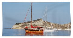Tall Ship Beach Towel by George Katechis