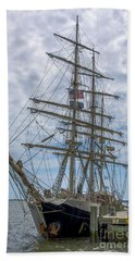 Beach Towel featuring the photograph Tall Ship Gunilla Vertical by Dale Powell
