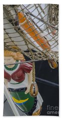 Beach Towel featuring the photograph Tall Ship Gunilla Masthead by Dale Powell