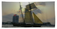 Tall Ship In Charleston Beach Sheet by Dale Powell