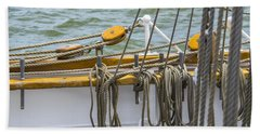 Beach Towel featuring the photograph Tall Ship Rigging by Dale Powell