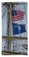 Beach Towel featuring the photograph Tall Ships Flags by Dale Powell