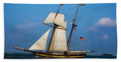 Tall Ships Over Charleston Beach Towel by Dale Powell