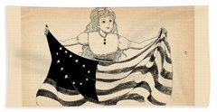 Beach Towel featuring the drawing Tammy And The Flag by Reynold Jay