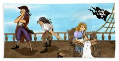 Tammy And The Pirates Beach Sheet by Reynold Jay