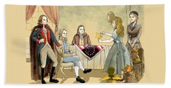 Beach Sheet featuring the painting Tammy Meets Betsy Ross And George Washington by Reynold Jay