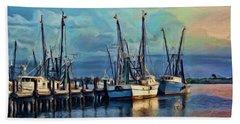Tampa Bay Fishing Boats Beach Towel by Kenny Francis