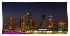 Tampa Lights At Dusk Beach Towel by Marvin Spates