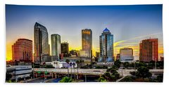 Tampa Skyline Beach Towel by Marvin Spates