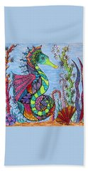 Beach Towel featuring the drawing Tangled Seahorse by Megan Walsh