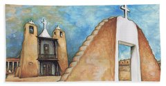 Taos Pueblo New Mexico - Watercolor Art Painting Beach Sheet