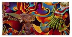 Tapestry Of Gods - Huehueteotl Beach Sheet