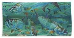 Tarpon Rolling In0025 Beach Towel by Carey Chen