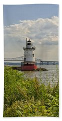 Tarrytown Lighthouse And The Tappan Zee Bridge Beach Sheet by Marianne Campolongo
