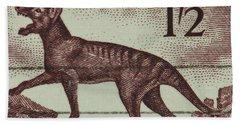 Tasmanian Tiger Vintage Postage Stamp Beach Sheet by Andy Prendy