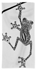 Beach Towel featuring the drawing Tattooed Tree Frog - Zentangle by Jani Freimann
