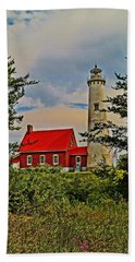 Tawas Point Light Retro Mode Beach Towel