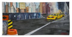 Taxi 9 Nyc Under Construction Beach Sheet