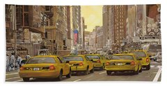 Beach Towel featuring the painting taxi a New York by Guido Borelli