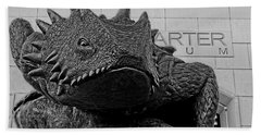 Tcu Horned Frog Black And White Beach Towel