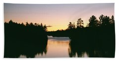 Tea Lake Sunset Beach Towel by David Porteus