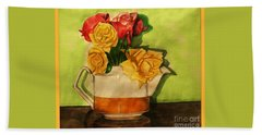 Tea Roses Bordered Beach Sheet
