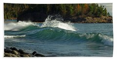 Teal Blue Waves Beach Towel by Melissa Peterson