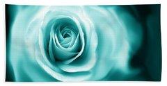Teal Rose Flower Abstract Beach Sheet