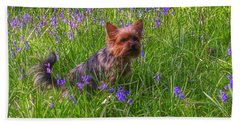 Teddy Amongst The Bluebells Beach Sheet