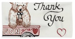 Beach Towel featuring the drawing Teddy Bear Thank You by Betty Denise