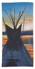 Teepee At Sunset Part 1 Beach Sheet by Kim Lockman