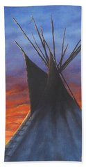 Teepee At Sunset Part 2 Beach Sheet by Kim Lockman