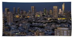 Beach Towel featuring the photograph Tel Aviv At The Twilight Magic Hour by Ron Shoshani