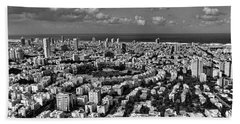 Tel Aviv Center Black And White Beach Sheet by Ron Shoshani