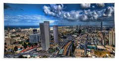 Tel Aviv Center Skyline Beach Sheet by Ron Shoshani